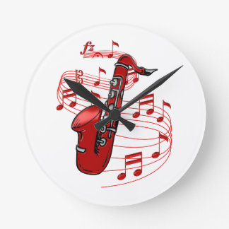 Red Sax With Music Notes Round Clock