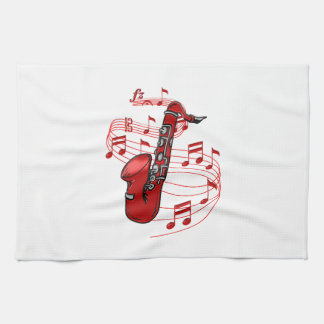 Red Sax With Music Notes Tea Towel
