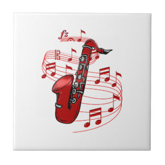 Red Sax With Music Notes Tile