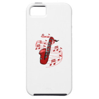 Red Sax With Music Notes Tough iPhone 5 Case