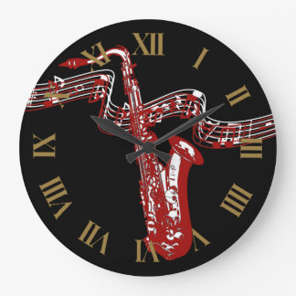 Red Saxophone Stylish and Cool Wall Clocks