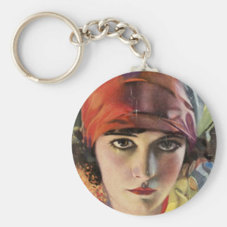 Red Scarf Gypsy Lady Basic Round Button Key Ring