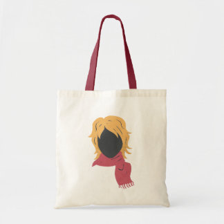 Red Scarf Woman Budget Tote Bag