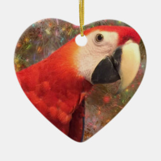 Red Scarlet Macaw Parrot Holiday Ornaments