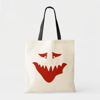 Red Scary Face. Monster. Canvas Bags