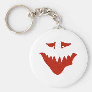 Red Scary Face. Monster. Basic Round Button Key Ring