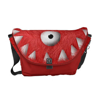 Red Scary Furry Monster Courier Bag