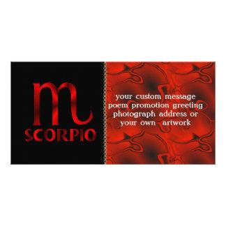 Red Scorpio Horoscope Symbol Photo Card Template