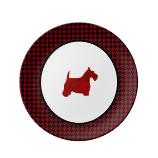 Red Scottie Your Color Houndstooth Porcelain Plate