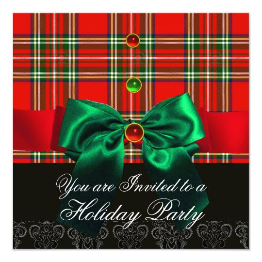 RED SCOTTISH TARTAN AND GREEN BOWS CHRISTMAS PARTY CARD