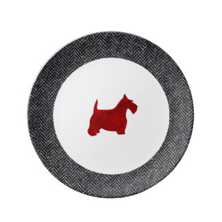 Red Scottish Terrier With Herringbone Porcelain Plates