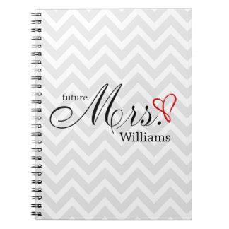Red Scribbled Heart Future Mrs Wedding Planner Spiral Notebook