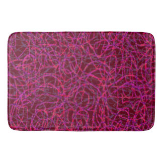 Red scribbled lines pattern bath mat