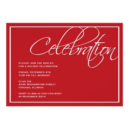 Red script Christmas celebration party invitation