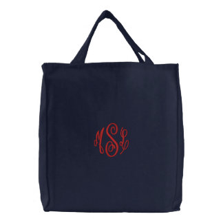 Red Script Embroidered Monogram Embroidered Bag
