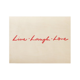 Red Script live laugh love Wood Poster
