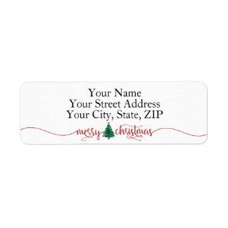 Red Script Merry Christmas & Green Watercolor Tree Return Address Label