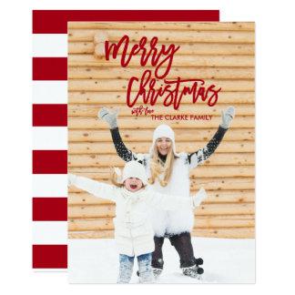 Red Script Merry Christmas Holiday Photo Card 13 Cm X 18 Cm Invitation Card