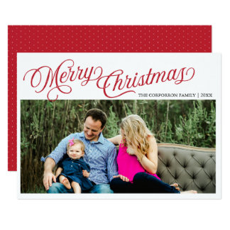 Red Script Merry Christmas Overlay Holiday Card