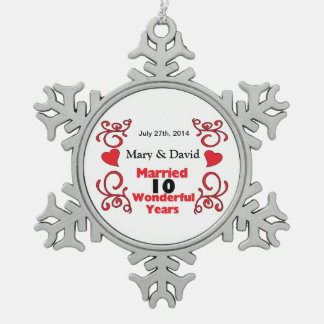 Red Scroll & Hearts Names & Date 10 Yr Anniversary Snowflake Pewter Christmas Ornament
