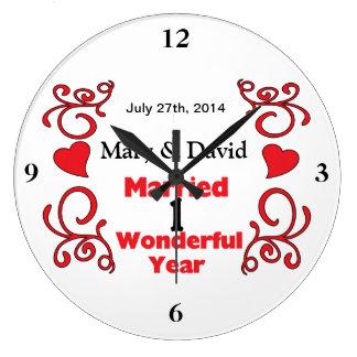 Red Scroll & Hearts Names & Date 1 Yr Anniversary Wall Clocks