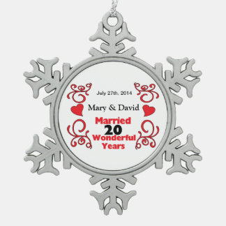 Red Scroll & Hearts Names & Date 20 Yr Anniversary Snowflake Pewter Christmas Ornament