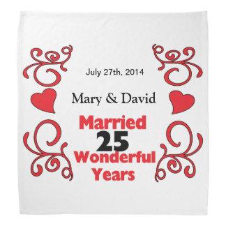 Red Scroll & Hearts Names & Date 25 Yr Anniversary Bandana