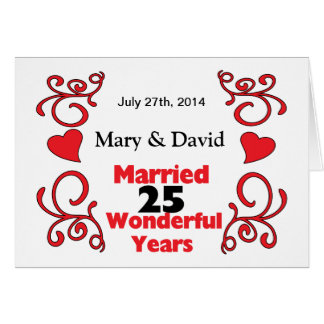 Red Scroll & Hearts Names & Date 25 Yr Anniversary Greeting Card