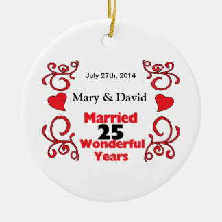 Red Scroll & Hearts Names & Date 25 Yr Anniversary Christmas Ornament