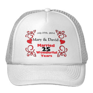 Red Scroll & Hearts Names & Date 25 Yr Anniversary Hats
