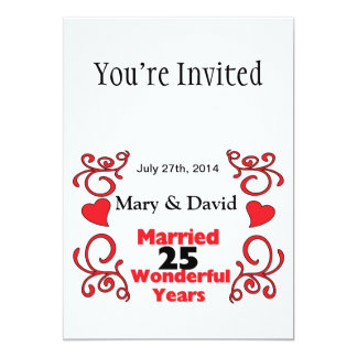 Red Scroll & Hearts Names & Date 25 Yr Anniversary 5x7 Paper Invitation Card