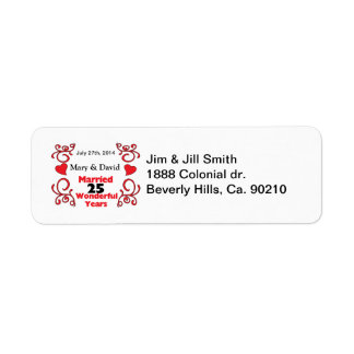 Red Scroll & Hearts Names & Date 25 Yr Anniversary Return Address Label