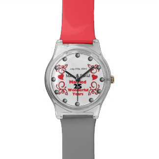 Red Scroll & Hearts Names & Date 25 Yr Anniversary Watches