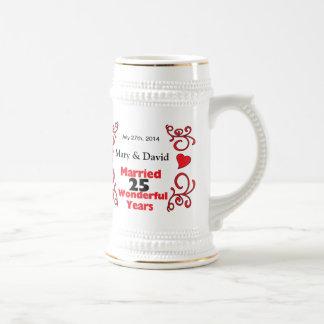 Red Scroll & Hearts Names & Date 25 Yr Anniversary Coffee Mug