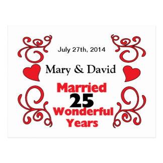 Red Scroll & Hearts Names & Date 25 Yr Anniversary Postcard