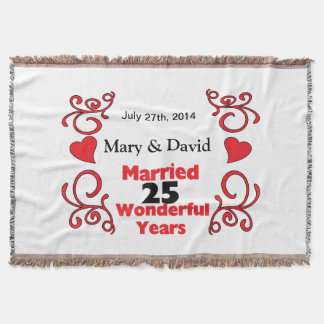 Red Scroll Hearts Names Date 25 Yr Anniversary Throw Blanket