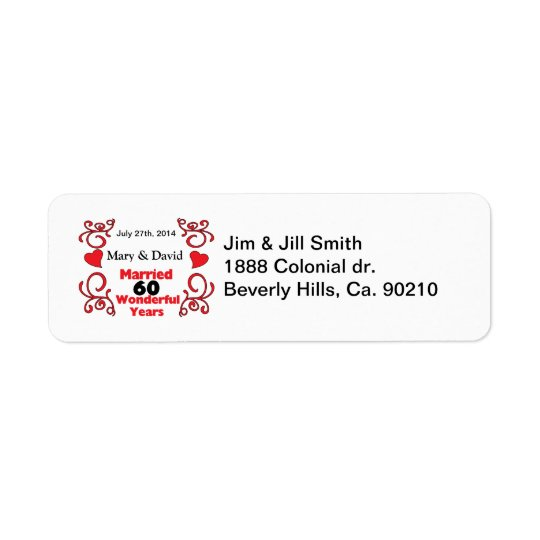 Red Scroll & Hearts Names & Date 60 Yr Anniversary Return Address Label
