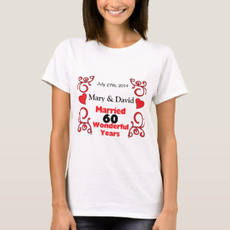 Red Scroll & Hearts Names & Date 60 Yr Anniversary T-Shirt