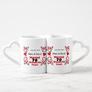 Red Scroll & Hearts Names & Date 70 Yr Anniversary Coffee Mug Set
