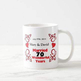 Red Scroll & Hearts Names & Date 70 Yr Anniversary Basic White Mug