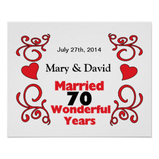 Red Scroll & Hearts Names & Date 70 Yr Anniversary Poster