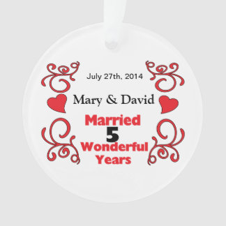 Red Scrolls & Hearts Names & Date 5 Yr Anniversary Ornament