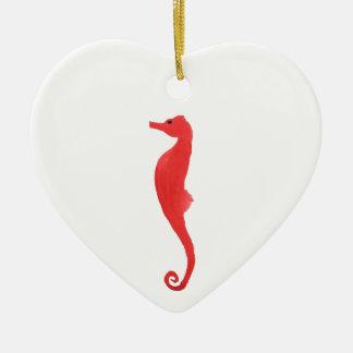 Red Sea Horse Ceramic Heart Decoration