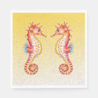 red seahorse yellow disposable serviette