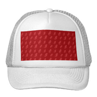 Red seahorses trucker hat