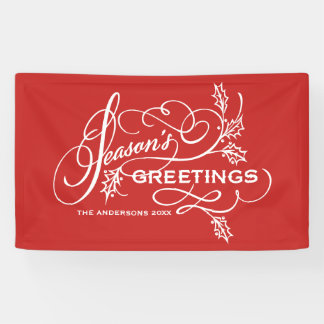 Red Season's Greetings Elegant Flourish Holiday Banner