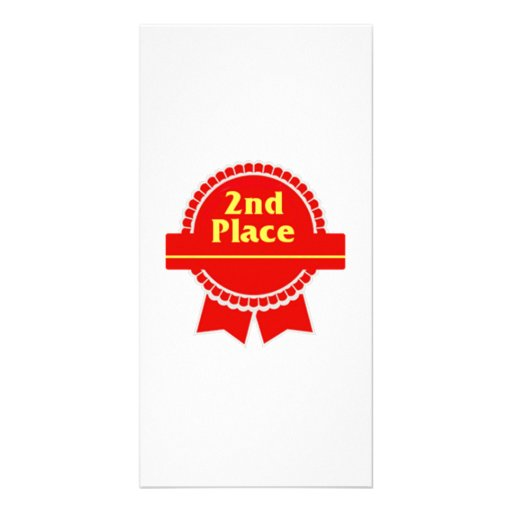 Red Second Place Ribbon Customized Photo Card