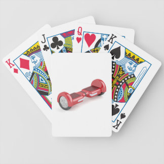 Red self-balancing scooter bicycle playing cards