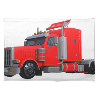 Red Semi Tracter Trailer Placemat