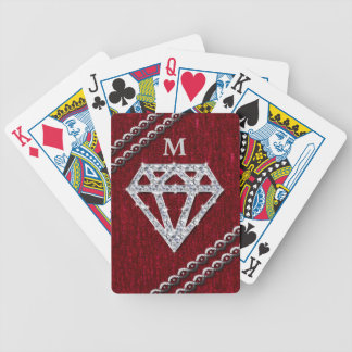 Red Sequin Diamond Shimmer Bicycle Playing Cards
